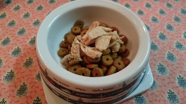 鶏肉とフードのご飯