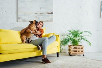 ソファーの上で戯れる犬と男性