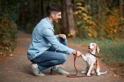 散歩中お手をする犬と飼い主