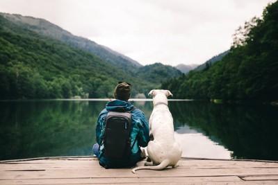 水辺に座る男性と犬の後ろ姿