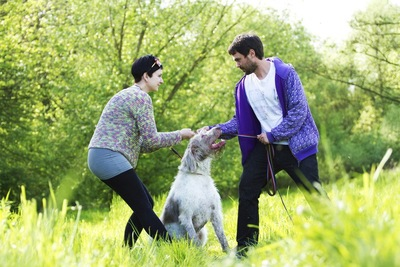 .:喧嘩するカップルとそれを見る犬