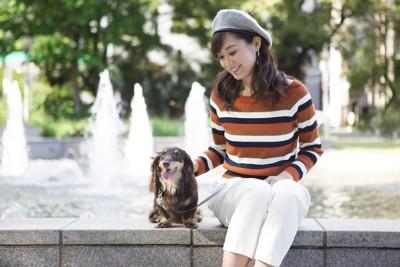 噴水の前の女性と犬
