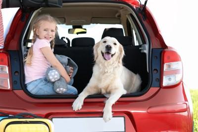 車のトランクに座る女の子と犬