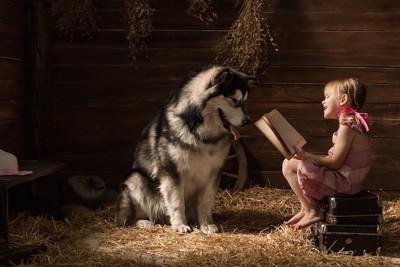 小屋で大きな犬に本を読み聞かせている女の子