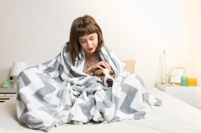 布団にくるまって愛犬を撫でる女性