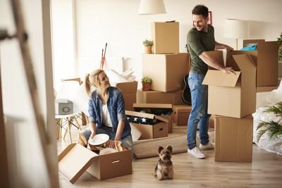引っ越しの準備をするカップルのそばに座る犬