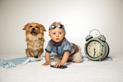 子供と犬と時計
