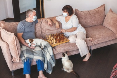 自宅で過ごす夫妻と犬と猫
