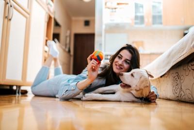 寝そべる犬と女性