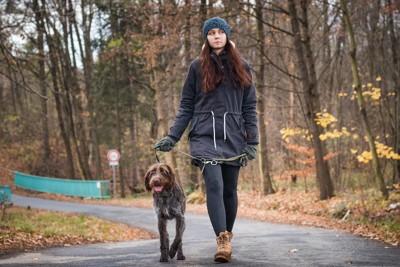 リードを短く持って犬の散歩をする女性
