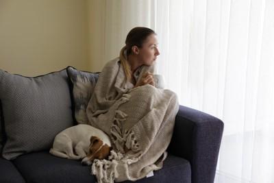 自宅待機中の女性と丸まった犬
