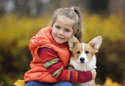 コーギー犬を抱きしめている女の子