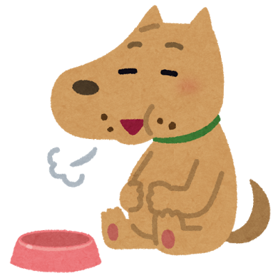 満腹の犬のイラスト