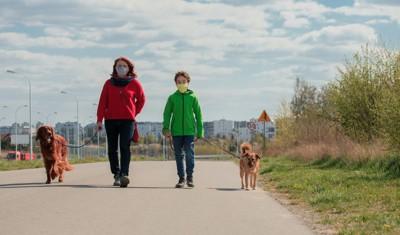 マスクをつけて犬の散歩をする親子