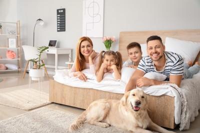 ベッドに寝転ぶ家族と下に寝そべる犬