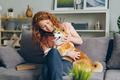 ソファーに座る女性と甘える柴犬