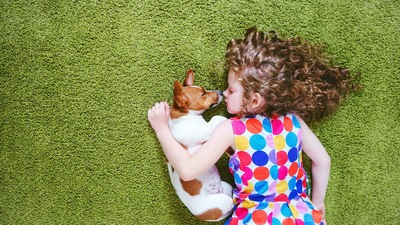 犬と一緒にカーペットの上で眠る女の子