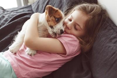 ふたりの子供の間で眠る犬