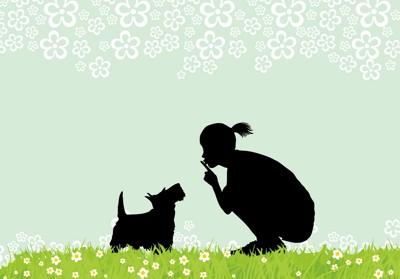 人と犬のイラスト