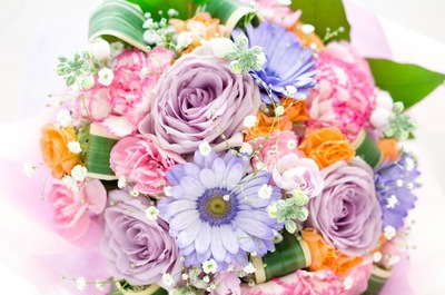 パープル系の花束