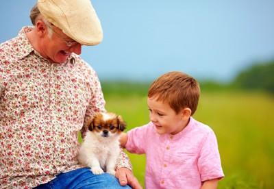 おじいちゃんと孫と子犬