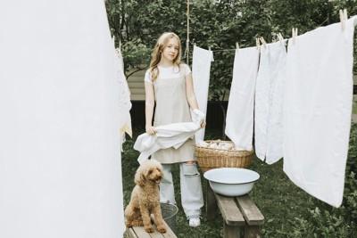 洗濯物干し場で笑う犬