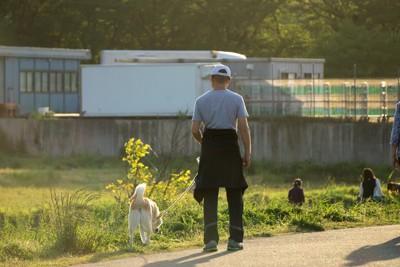 犬の散歩をする老人