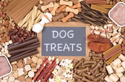 様々な種類の犬用のおやつ