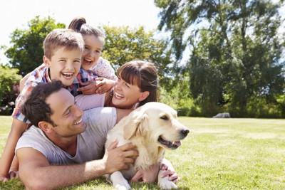 家族の中に居る犬