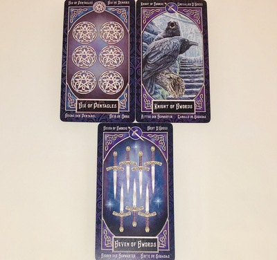 SIXofPENTACLES/KNIGHTofSWORDS/SEVENofSWORDS