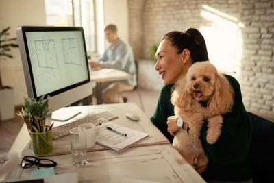 犬を抱きながら仕事をする女性