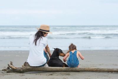 砂浜に座る親子とドーベルマン