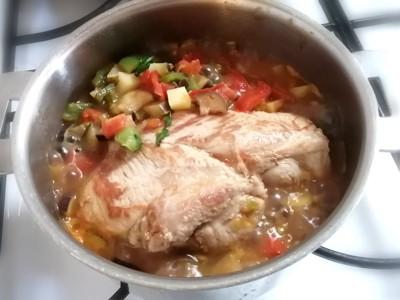 鍋の中の豚肉と野菜