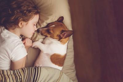 子どもと一緒にベッドで寝ている犬