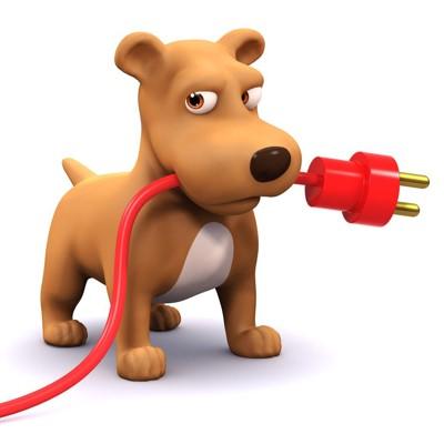 コンセントと電気コードを咥える犬のイラスト