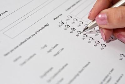 健康調査の質問票