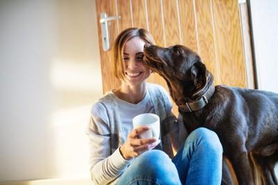 カップを持った女性の顔を舐める犬