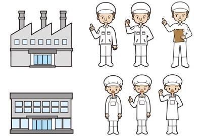 #工場と作業員のイラスト#