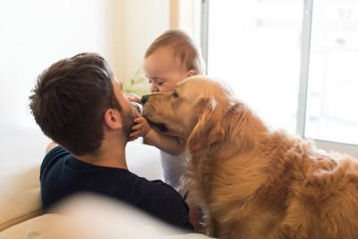 親子の間に割り込もうとする犬