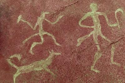 古代の人と犬の壁画