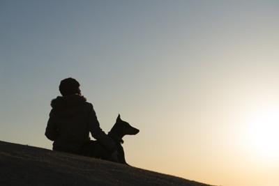 飼い主と犬のシルエット