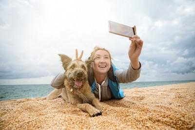 ビーチで飼い主と写真を撮る犬