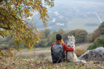 リュックを背負った女性と犬の後ろ姿