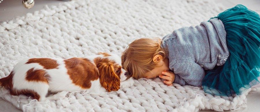 部屋で一緒に遊ぶ犬と子供