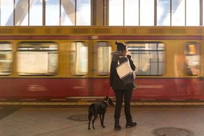 駅のホームに立つ女性と犬