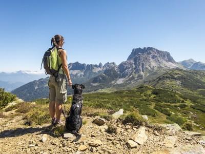 山を眺める犬と女性