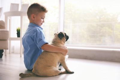 子供の横で一緒に座っている犬