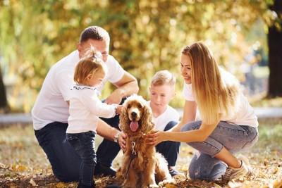 みんなで犬を可愛がっている家族