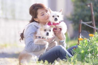 犬2匹と女性