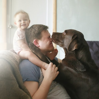 赤ちゃんとお父さんと大型犬